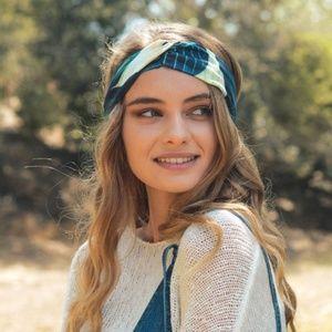 Navy Blue Leaf Print Headband